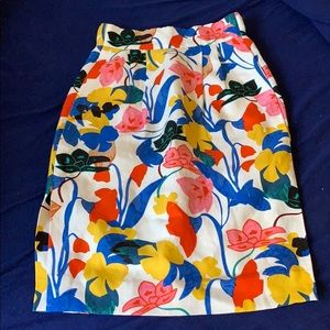 J crew floral 00p over the knee skirt